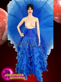CHARISMATICO The beautiful blue pleated Wing Gown with fluffed bottoms