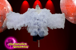 CHARISMATICO The fluffed design white folded jacket with full sleeve design