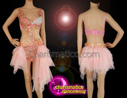 CHARISMATICO Beautiful salmon pink dance dress with sequined bodice and ruffled skirt