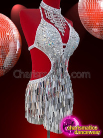CHARISMATICO Silver white diva showgirl leotard with sequins and designer neckline