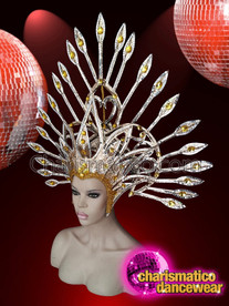 CHARISMATICO Drag queen gold diva headdress for cabaret style