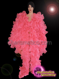CHARISMATICO Drag queen pink organza full body ruffle coat