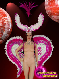 CHARISMATICO Pink and white Headdress and wings set