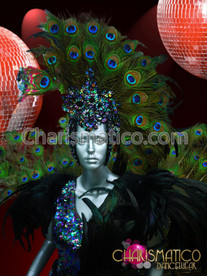 blue and green Extravagant peacock costume Headdress Costume set + WING