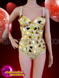 CHARISMATICO gold and cream spaghetti strap leotard with glass details