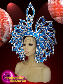 CHARISMATICO  Showgirl Headdress in blue and white combination