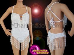 CHARISMATICO V-shape white sequin showgirl g-string leotard