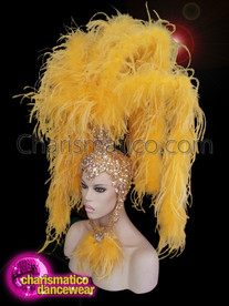 CHARISMATICO showgirl Canary yellow ostrich boa headdress
