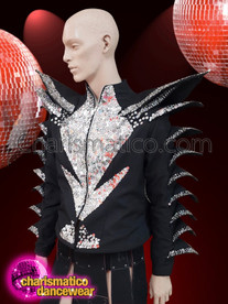 Charismatico Black and silver sequined jacket for men with shoulder spikes