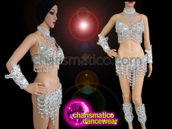 CHARISMATICO Samba Beaded fringe style bra and thong set in sequin