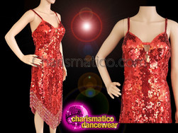 CHARISMATICO Sexy Diva dance dress in bright red hue and sequin