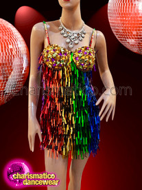 CHARISMATICO gay pride Rainbow color Salsa Dance dress in crystals and rectangular sequins