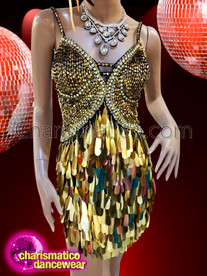 CHARISMATICO Showgirl's sexy latin dress with shimmering gold teardrop sequins