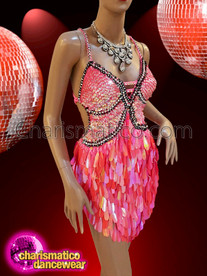 CHARISMATICO Showgirl's Burlesque rouge pink sequin teardrop dress
