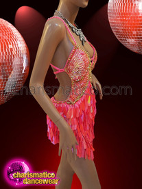 CHARISMATICO Stunning, Showgirl's teardrop sequined crystallized well-fitted pink dress