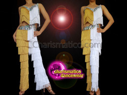 CHARISMATICO dancing with the star Latin Salsa gold and white fringe pants