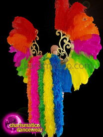 CHARISMATICO  Gigantic rainbow Ostrich Feather Gay Pride angel wings