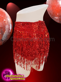 CHARISMATICO Great-looking sequined red shorts with beaded tassels