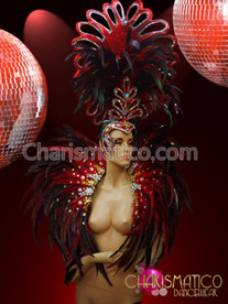 Charismatico Bejeweled Black Red Feathered Cabaret Drag Headdress and Collar Set