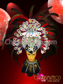 Charismatico Drag Iridescent Crystal Embellished RED Raven Feather Headdress