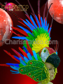 Charismatico Parrot Inspired Rainbow Gay Pride Drag Queen Feather Headdress