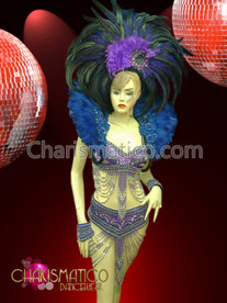CHARISMATICO Lilac Sequined Samba Carnival Costume (Headdress, Bra, Belt, and Cuffs)