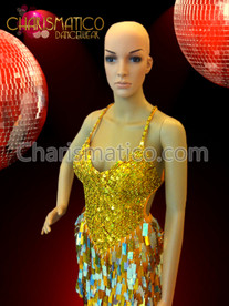 CHARISMATICO Gold Glam Diva Sequin Mini-Dress with Jumbo Drop Sequin Fringe Skirt