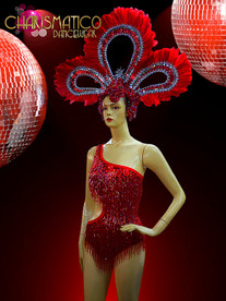 Fantastic Iridescent Red Beaded Fringe Leotard and Matching Feathered Headdress
