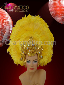 CHARISMATICO Floral Patterned Gold Bead Trimmed Yellow Feathered Collar and Headdress