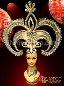 "CHARISMATICO ""Ace Of Spades"" Inspired Silver Mirror Finished Glitter Drag Queen Headdress"