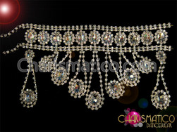 CHARISMATICO Diva's Double Chain Showgirl Choker Style Crystal Necklace with Matching Earrings