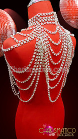 CHARISMATICO Silver Large Draping Rhinestone Crystal Chain Collar Style Diva Showgirl Necklace