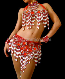 Red Belly Dance Show girl bra and belt