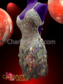 CHARISMATICO Silver Sequin Diva Latin Salsa Dance Dress With Flashy Cutout Fringes