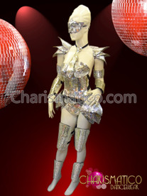 CHARISMATICO Futuristic Mirrored Corset, Arm, Leg, and Shoulder Armor Set with Mask