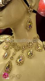 CHARISMATICO Rhinestone Embellished  Crystal Teardrop DIVA SHOWGIRL Necklace and Earring Set