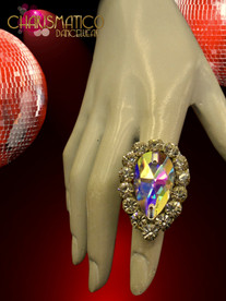 Large Diva Rhinestone Embellished  Crystal Pear Shape Drag Queen Costume Ring
