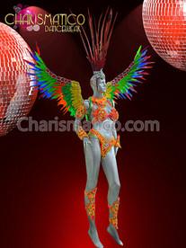 CHARISMATICO Samba Styled Bright Orange Phoenix Carnival Costume with Rainbow Wings
