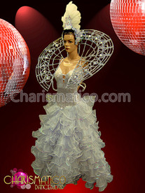 CHARISMATICO White Pageant Drag Ruffled Gown, Feather Headdress, and Crystal Collar Set