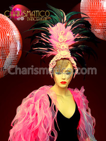 CHARISMATICO Fancy Floral Beaded Soft Pink and Iridescent Black Feathered Headdress