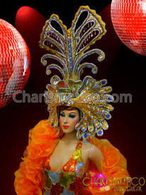 CHARISMATICO Blue and Gold Chandelier Style Iridescent Crystal Studded Drag Queen Headdress