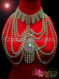 CHARISMATICO Stunning Diva Choker Style Iridescent Crystal RhinestoneTeardrop Necklace