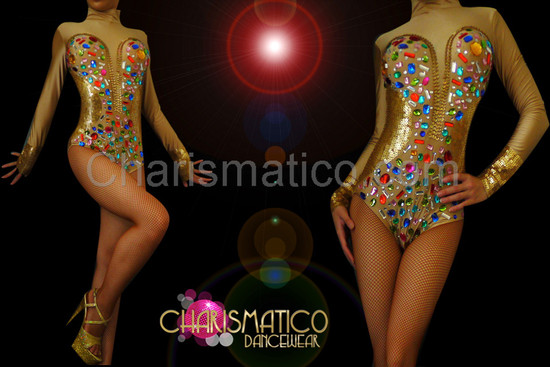 CHARISMATICO Corset illusion Golden sequin high neck leotard with rainbow crystals