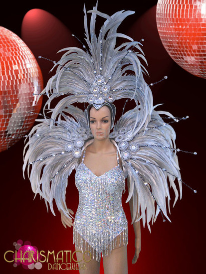 Silver tasseled dance leotard with matching silver backpack wing and headdress