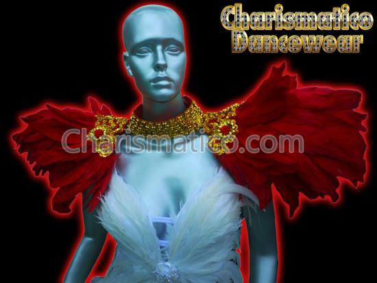 RED Drag Queen CABARET Carnival Feather SHOULDER COLLAR