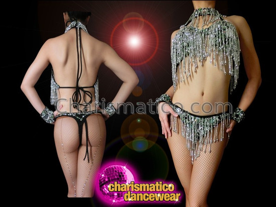 CHARISMATICO Black Based Silver Sequin Beaded Fringe Bra With Matching Thong