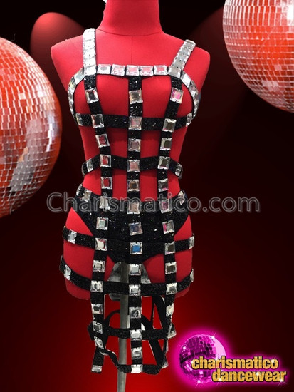 CHARISMATICO Black Shiny Bondage Inspired Dress with Mirrors