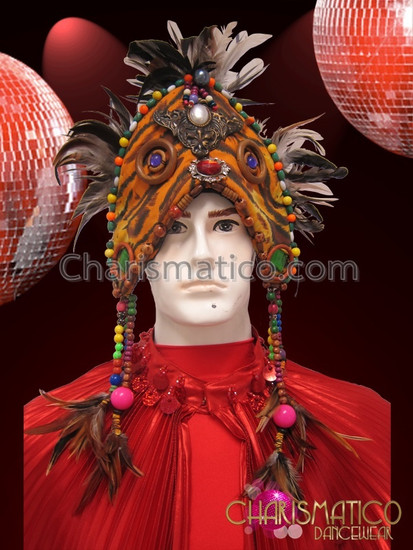 6581 Copy of CHARISMATICO Blue, green, and red pheasant feather wing style beaded backpack