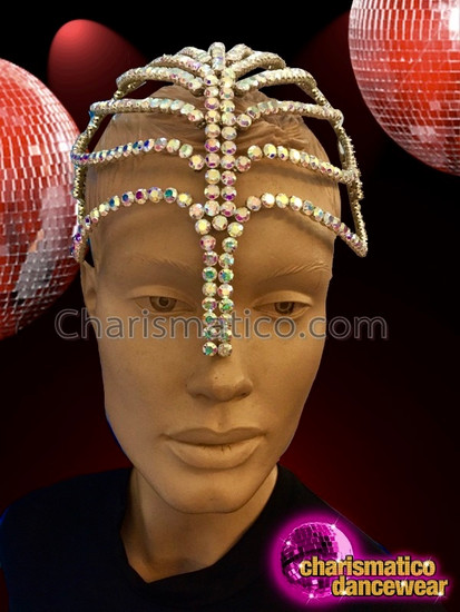 CHARISMATICO Amazing multi-colored beaded crystal headpiece