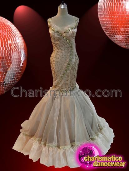 CHARISMATICO Alluring exquisite elegant grand golden ballroom gown